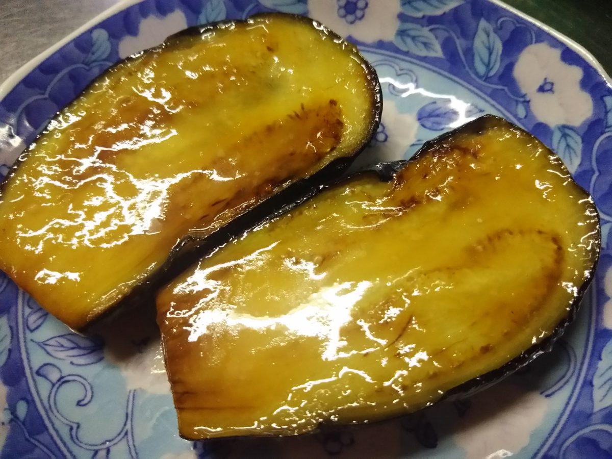 茄子の味噌田楽と果物になったミニトマト